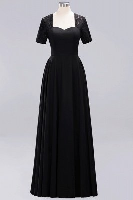 A-Line Chiffon Bridesmaid Dresses | Sweetheart Cap Sleeves Lace Wedding Party Dresses_20