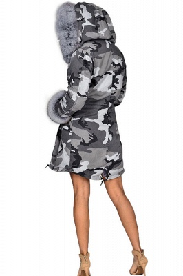 Grey Camo Military Parka Coat with Premium Fur Trim_3
