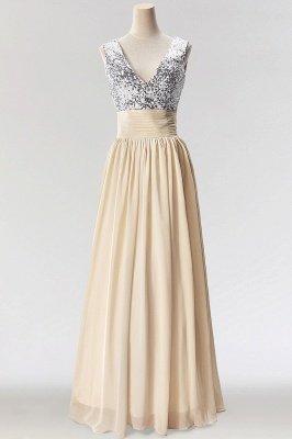 A-Line  V-Neck Sleeveless Floor-Length Bridesmaid Dress with Sequins_1