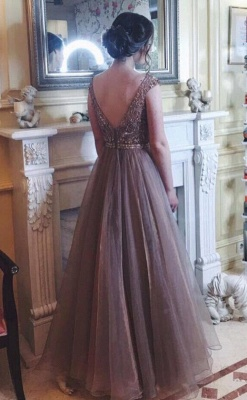 Chocolate Crystals A-Line  Sweep Train Prom Dress_1