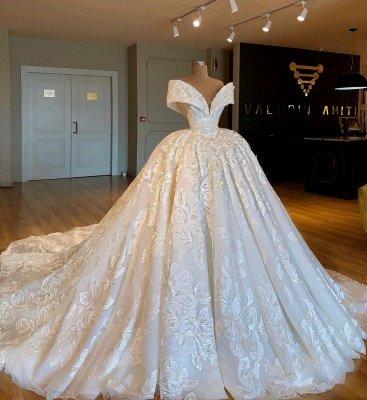 Gorgeous Off-the-Shoulder Puffy Applique Chiffon Wedding Dresses_1