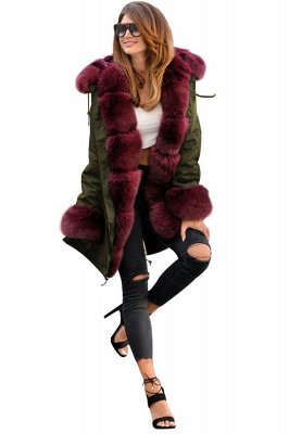 Hooded Camo Military Parka Coat with Premium Red Fur Trim_1