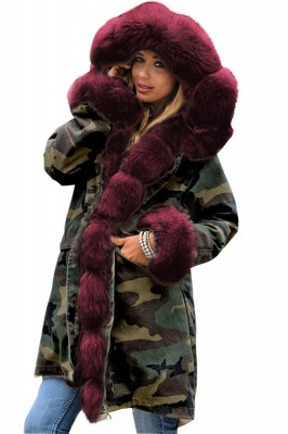 Camo Military Parka Coat with Premium Burgundy Fur Trim_1