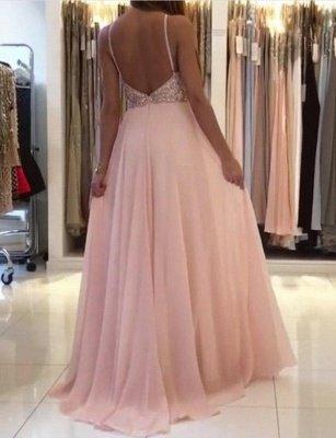 Fashion A-Line Spaghetti Straps Beading Pink Floor-Length Prom Dress_4