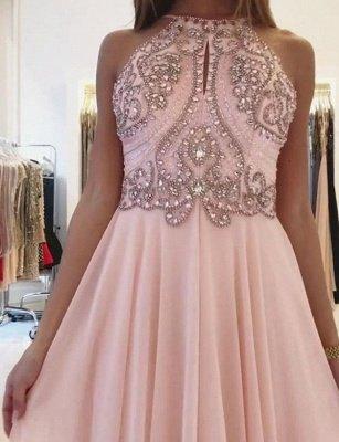 Fashion A-Line Spaghetti Straps Beading Pink Floor-Length Prom Dress_3
