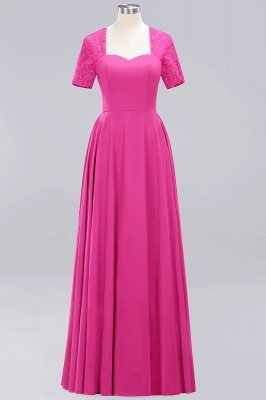 A-Line Chiffon Bridesmaid Dresses | Sweetheart Cap Sleeves Lace Wedding Party Dresses_5