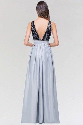 A-line Satin Lace Jewel Sleeveless Floor-length Bridesmaid Dresses with Ruffles_2