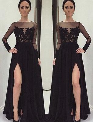 Long-Sleeves Bateau Side-Slit Appliques Black Elegant Prom Dress_2