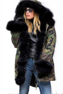 Camo Military Parka Coat with Premium Burgundy Fur Trim_3