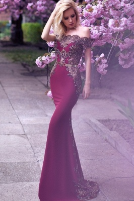 Elegant Appliques Long Evening Dresses | Mermaid Off-the-Shoulder Prom Gowns_2