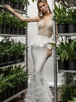 Sexy Mermaid Lace Appliques Deep-V-Neck Sleeveless Wedding Dress_2