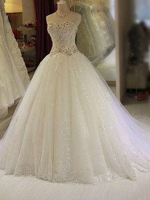 Glittery Beaded Wedding Dresses | Sweetheart Sleeveless Lace Appliques Bridal Gowns_2
