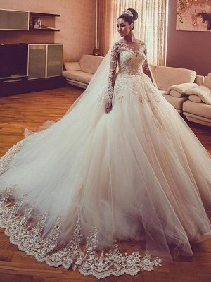 Tulle Lace V-Neck Wedding Dresses | Long Sleeves Classic Wedding Gowns with Appliques_2