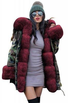 Camo Military Parka Coat with Premium Burgundy Fur Trim_13