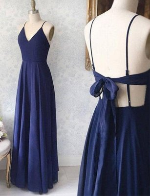 V-Neck Navy Blue Simple Spaghetti Straps A-Line Long Prom Dress with Bowknot_1