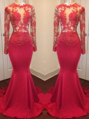 Long Sheer Lace Red Prom Dresses | Long Sleeves Mermaid Evening Gowns_2