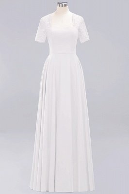A-Line Chiffon Bridesmaid Dresses | Sweetheart Cap Sleeves Lace Wedding Party Dresses_1