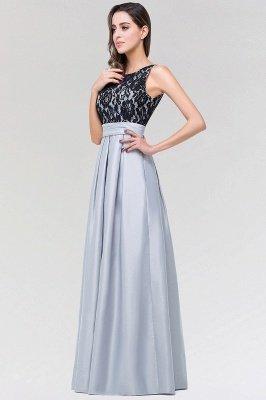 A-line Satin Lace Jewel Sleeveless Floor-length Bridesmaid Dresses with Ruffles_3