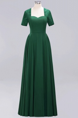 A-Line Chiffon Bridesmaid Dresses | Sweetheart Cap Sleeves Lace Wedding Party Dresses_21