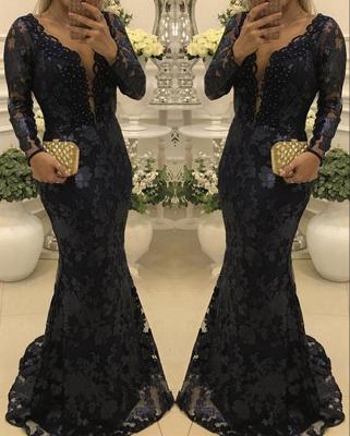 Glamorous Scoop Sweep-train Long Sleeves Lace Mermaid Prom Dresses_2