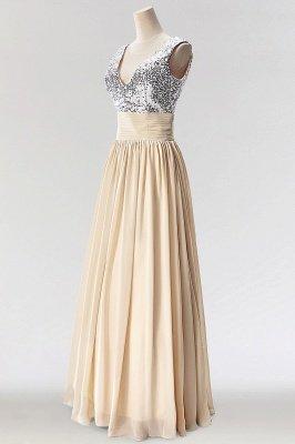 A-Line  V-Neck Sleeveless Floor-Length Bridesmaid Dress with Sequins_3