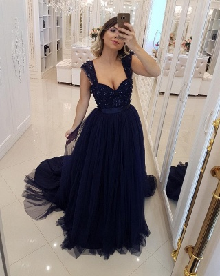 Stylish Straps  A-Line Sleeveless Sequined Prom Dress_1