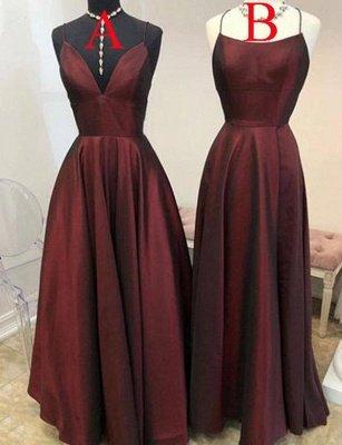 Simple Burgundy A-Line Spaghetti Straps Sleeveless Floor-Length Prom Dress_1