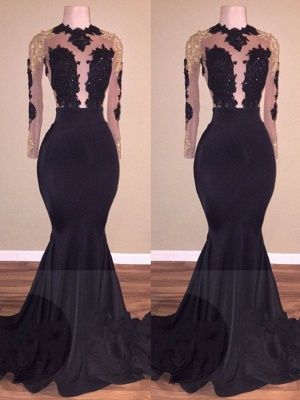 Long Lace-Appliques Prom Dresses | Black Long-Sleeve Mermaid Eevning Gowns_2