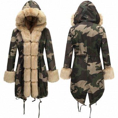 Camo Military Parka Coat with Premium Burgundy Fur Trim_16