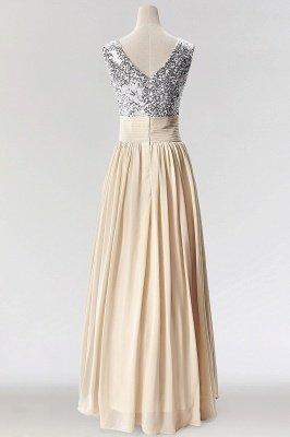 A-Line  V-Neck Sleeveless Floor-Length Bridesmaid Dress with Sequins_2