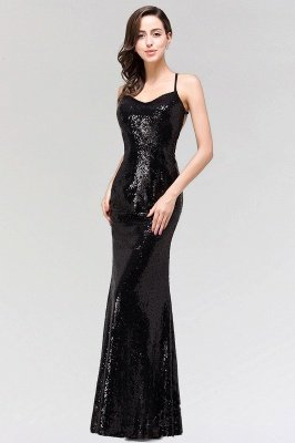 Sexy Mermaid Sequined Spaghetti Straps Backless Floor-Length Bridesmaid Dress_3
