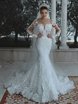 Glamorous Long Sleeves Wedding Dress | Mermaid Lace Bridal Gowns_1