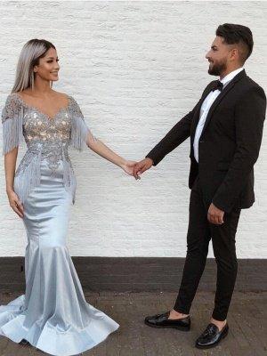 Elegant Mermaid Sky Blue Evening Gowns | V-Neck Prom Dresses with Tassels_2