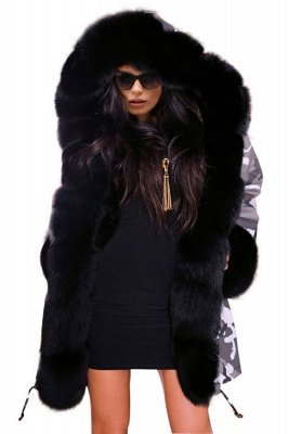 Grey Camo Military Parka Coat with Premium Fur Trim_1