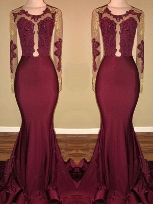 Amazing Burgundy Gold Prom Dresses | Long Sleeves Mermaid Evening Gowns_2
