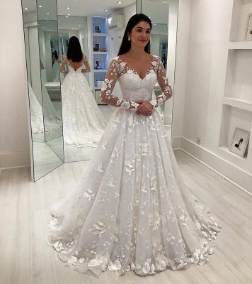 Gorgeous V-Neck Applique Long Sleeves Tulle Wedding Dresses_1