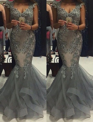 Luxury Grey Mermaid Prom Dresses Capped Sleeves V-Neck Formal Gowns_2