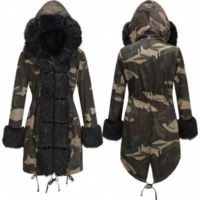 Camo Military Parka Coat with Premium Burgundy Fur Trim_6