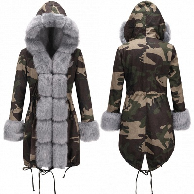 Camo Military Parka Coat with Premium Burgundy Fur Trim_7