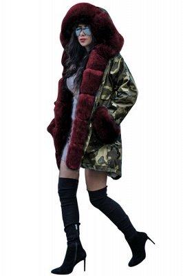 Camo Military Parka Coat with Premium Burgundy Fur Trim_5