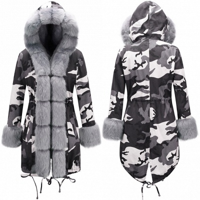Grey Camo Military Parka Coat with Premium Fur Trim_10