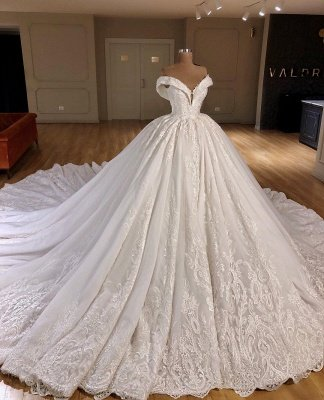 Gorgeous Applique Off-the-Shoulder Puffy Wedding Dresses_1