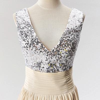 A-Line  V-Neck Sleeveless Floor-Length Bridesmaid Dress with Sequins_4