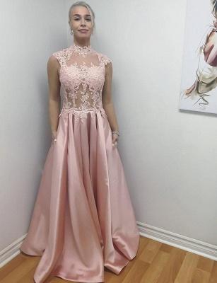 Unique High Neck A-Line Sleeveless Appliques Floor-Length Evening Dress_1