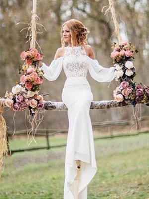 Off-the-Shoulder Long Sleeves Chiffon Mermaid Wedding Dresses_2