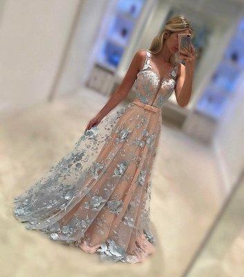 Sleeveless V-Neck Belt Applique  Sweep Train Evening Dresses_1