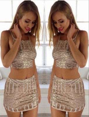 Mini Two-Piece Sexy Tight Sequins Party Dresses_2
