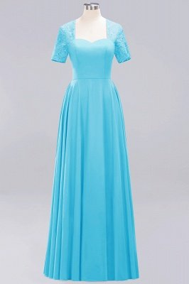 A-Line Chiffon Bridesmaid Dresses | Sweetheart Cap Sleeves Lace Wedding Party Dresses_16