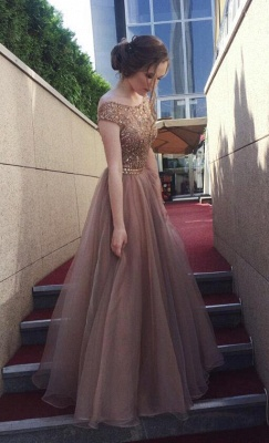 Chocolate Crystals A-Line  Sweep Train Prom Dress_3
