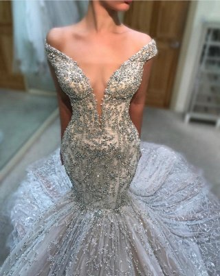 Charming Off-the-Shoulder Tulle Beaded Sexy Mermaid Wedding Dress BC2707_1